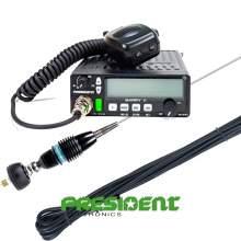 Kit Statie CB President Barry II AM/FM 12/24V + Antena President Oregon cu cablu de prindere fixa