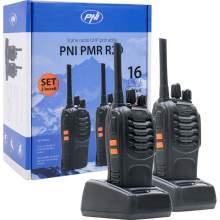 Statie Radio PMR PNI R20 set cu 2 bucati cu acumulatori 1200mAh, incarcatoare si casti incluse